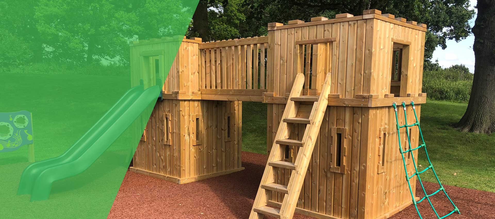 Wooden Castle Play Towers