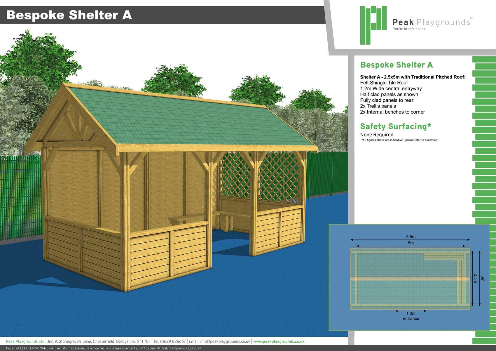 3D presentation drawing bespoke outdoor shelter for schools