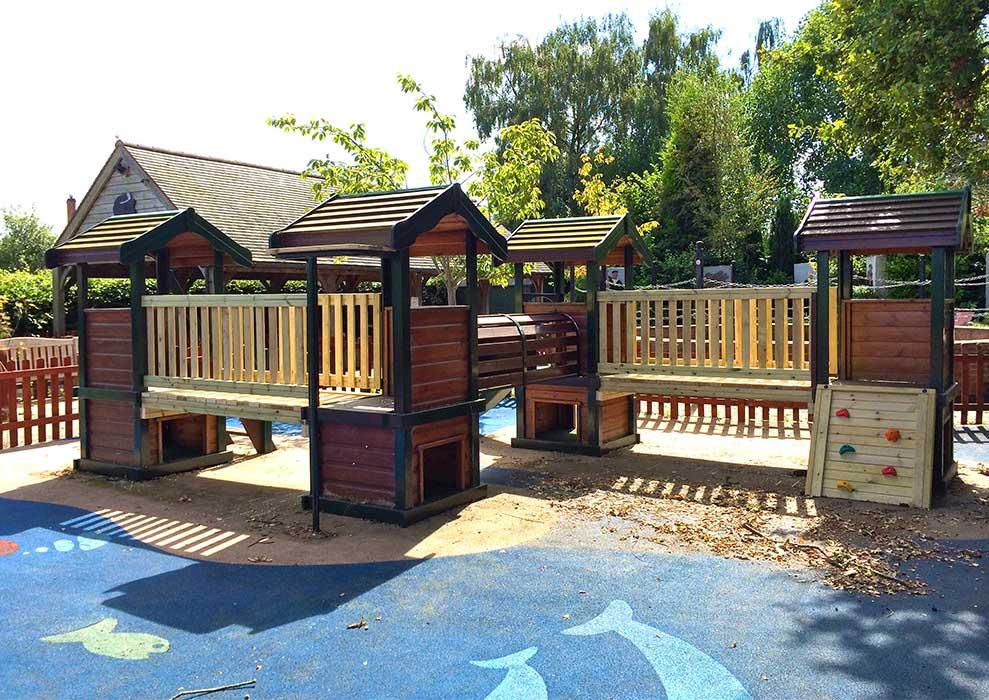 Playground equipment repair. New bridges and rockwall