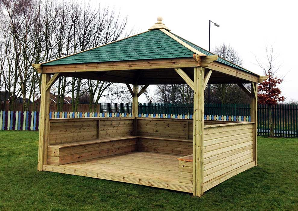 4m Square Gazebo with Canvas Roof and Seating