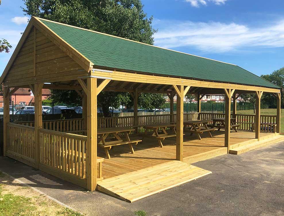 Large bespoke rectangular shelter and picnic area