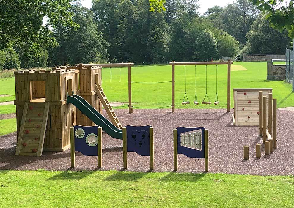 Example wooden play equipment installation