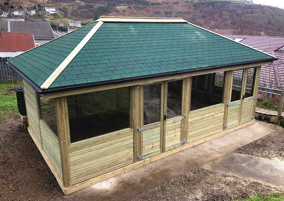 Fully enclosed wooden outdoor building